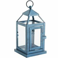 TEAL TEALIGHT LANTERN CANDLE HOLDER, NEW, INDOOR/OUTDOOR, PAINTED IRON/GLASS