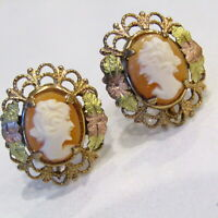 Vintage Cameo Earrings14k Gold Posts Carved Shell 1/20 gf pierced