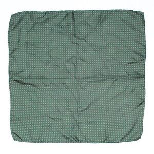 "Italian Silk Mens Pocket Square 15"" Green White Orange Mini Floral Flower Print"