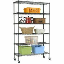 BestOffice WS-776  6 Tier Layer Shelf Adjustable Wire Metal Shelving Rack - Black