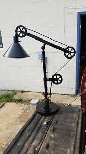 Bridgeport Designs Pulley End Table Desk Lamp Bronze Finish Adjustable Arm.