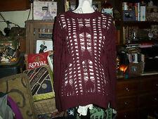 ANTHROPOLOGIE HEARTLOOM  Poppin Magenta Knited Boatneck Sweater Size SP