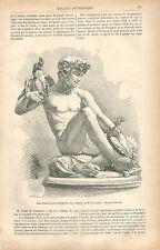 Jeune Faune faisant combattre deux coqs bronze par Lenoir GRAVURE OLD PRINT 1877