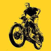 Steve Mcqueen t shirt legend Hand printed 60's Vintage Style Rock yellow S-5Xlg