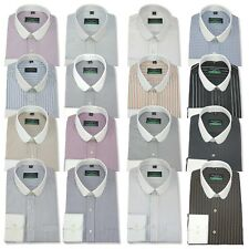 Mens Penny collar Bankers shirt Stripes Checks Round Club collar Easy Iron Gents