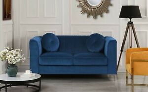 Blue Contemporary Sofa Plush Velvet Living Room LoveseatWith Two Accent Pillows