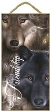 Novelty-Fun Wood Sign-Plaque--FRIENDSHIP WOLVES--WOLF