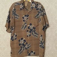 Extreme Gear Hawaiian Camp Shirt Hibiscus Flowers Island Tropics Gray Blue S/S
