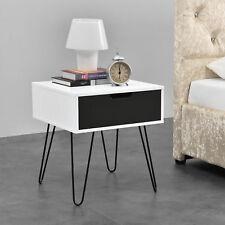 [en.casa]® Beistelltisch weiß/grau Nachttisch Nachtschrank Kommode Telefontisch