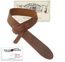 "Walker & Williams STR-07 Distressed ""Bomber Jacket"" Italian Leather Guitar Strap"