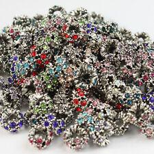 5X Czech Crystal Round Rondelle Tibetan Silver Charm Beads fit European Bracelet