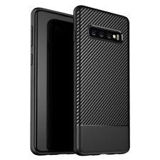 Handy Hülle für Samsung Galaxy S10 Plus, Carbon Case Silikon Cover Schutz Tasche