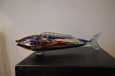 Murano large glass fish silver/multi