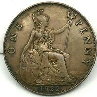 Great Britain- George V  Bronze 1922 1 Penny BARGAIN VF/XF KM # 810