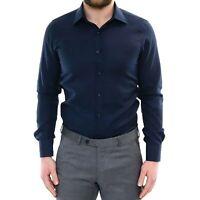 Camicia Uomo Cotone Slim Fit Classica Sartoriale Elegante a Manica Lunga Blu