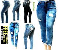 Womens PLUS SIZE Stretch BLUE denim jeans SKINNY Bootcut Curvy Distressed PANTS