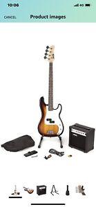 RockJam Electric Bass Guitar Kit With Amp & Tuner - Sunburst RRP £179 (B No Bag)