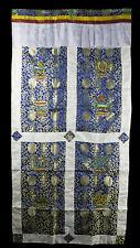 Tenture de porte tibetaine tissu brocart bleu broderie bouddhiste 179x95cm 25709
