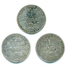 Kaiserreich, Lot v. 3 Münzen/1 Mark 1874+1875