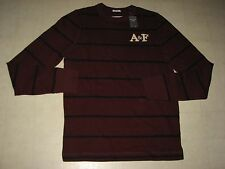 ABERCROMBIE & Fitch Mens Muscle Stripe Long Sleeve Shirt Burgundy Sz M - NWT $50