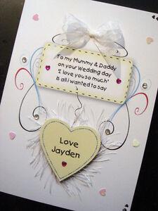 Handmade Personalised Wedding 'To Mummy & Daddy' Card (5x7 card)