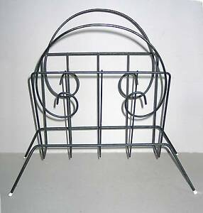 """Mid Century Modern Blk Paint Steel Wire Magazine Rack Stand curves 17"""" FREE SH"""