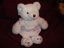 """RUSS BEDTIME WHITE TEDDY BEAR PLUSH TOY STUFFED NIGHTGOWN SLIPPERS 15"""" STANDING"""