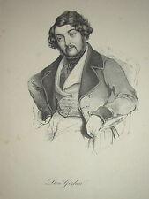 RARE Portrait Léon GOZLAN ECRIVAIN MARSEILLE ROMANTISME XIXe BALZAC JUDAICA 1840