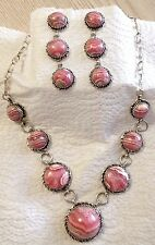 Rhodochrosite sterling silver necklace set designed TByrd created Navajo AJoe