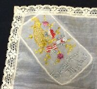VTG Handkerchief Embroidered To My Dear Mother Lace Edged Floral Bouquet Hankie