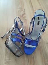FUSS 16cm Sexy metallic blue platform 4cm sandals crystal high heels 40