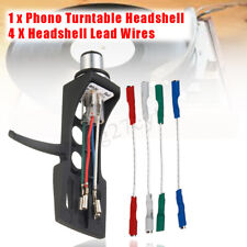 Headshell + 4X OFC Lead Wires Set Replacement For Turntable Cartridge Universal