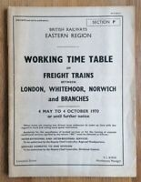 British Railways - Eastern Region - Section P - Working Timetable - May 1970