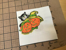 Original Vintage Napkin from collection -- 2 jack o lanterns black cat halloween