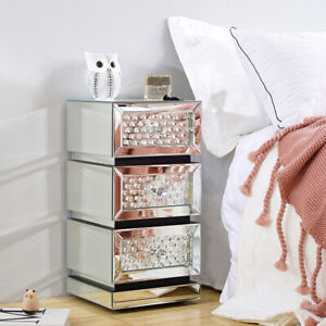 Modern Mirrored Glass Bedside Table Storage Cabinet W/ Drawer Bedroom Nightstand