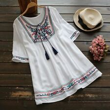 Women Boho Embroidery Short Sleeve Casual Blouses Shirt Blusas Mujer De Moda
