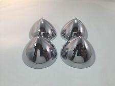 "Set of 4 2.5"" Chrome Bullet Nose Hubcap Center Accessory Hot Rod Rat Rod Custom"