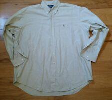 Men's Ralph Lauren Blake Button Up Shirt Tan Colored Pony Logo XL Long Sleeve