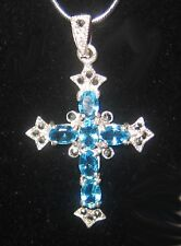 Stunning Vintage Cross Crucifix Intense Aquamarine & Marcasite Sterling Unique