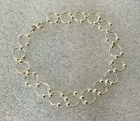 """Petite Solid Sterling Silver micro circle bead 7.5 in. """" Bracelet India chain"""