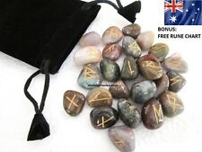 25pc Australian Fancy Jasper Gemstones Powerful Rune Stones Set + Rune Chart
