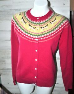 LL Bean Womens Wool Cardigan Sweater Nordic Fair Isle Dog Medium NWOT