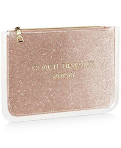 Coach dreams glitter rose gold clear patent cosmetic makeup bag clutch pouch NEW