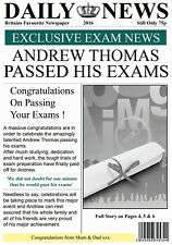 Personalised Newspaper Effect Passed Exams Card - Gorgeous !