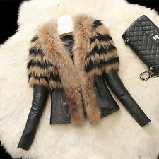 Women Fur Collar Warm Coat Leather Cotton Jacket Padded Overcoat Parka outwear