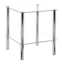 Emden - Tavolino da soggiorno in vetro, gambe in accaio, in diverse misure