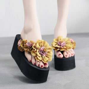 Womens High Wedge Heel Flip Flops Summer Beach Flowers Sandals Platform Slippers
