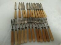Vintage Fruit Knives and Forks EPNS with Silver Stamped  Collars