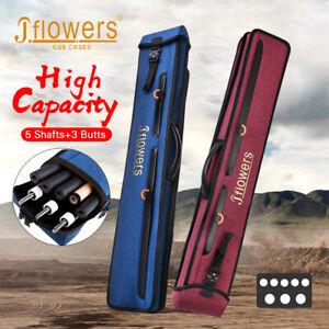 Original J-flower Billiard Case 3 Butts 5 Shafts 8 Holes Cue Case JF Zipper Bag