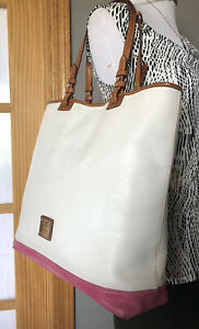 DOONEY & BOURKE 1975 White Pink Leather Brown Trim XL Tote Shoulder Handbag
